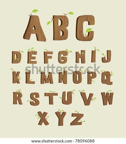 Wood font - stock vector