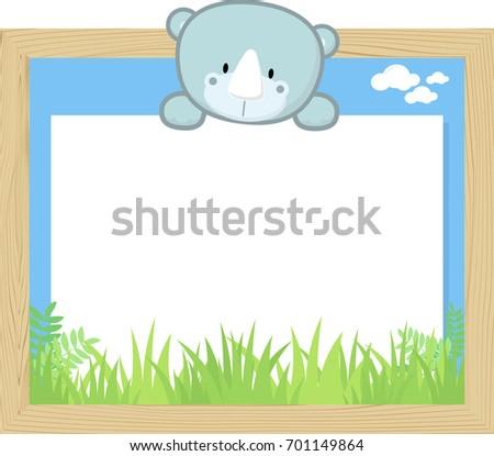 Wood Frame Cute Baby Rhino Blank Vector de stock701149864: Shutterstock