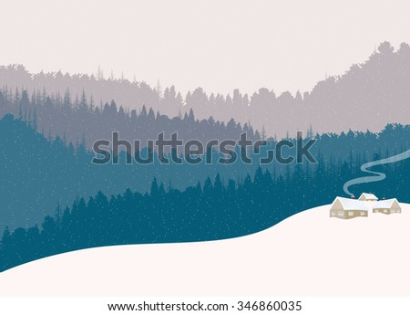 Wood house in the winter landscape - stock vector
