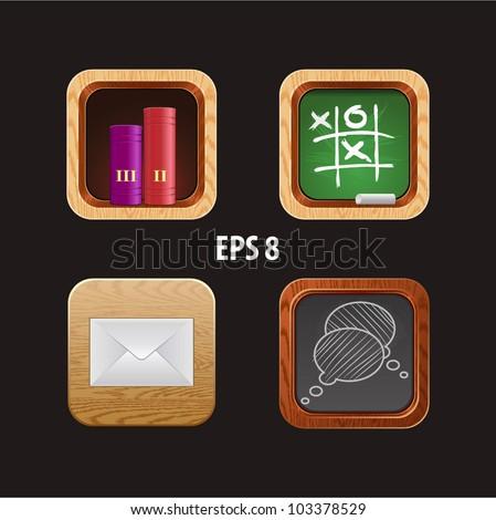 wood icon app - stock vector