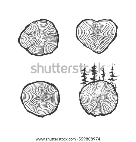 wood icon set hand drawing sawmill stock vector royalty free