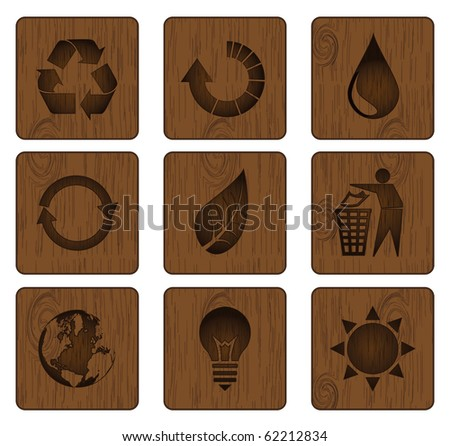 Wood icon set sustainable and green energy - stock vector
