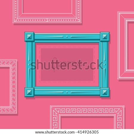 Wood picture frame flat vector. Stylish blue photo frame on pink wall. Painting frame set. Template. - stock vector