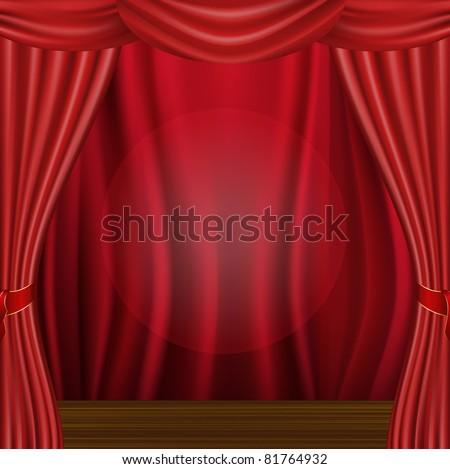 Wood Scene And Curtain, Vector Illustration - stock vector