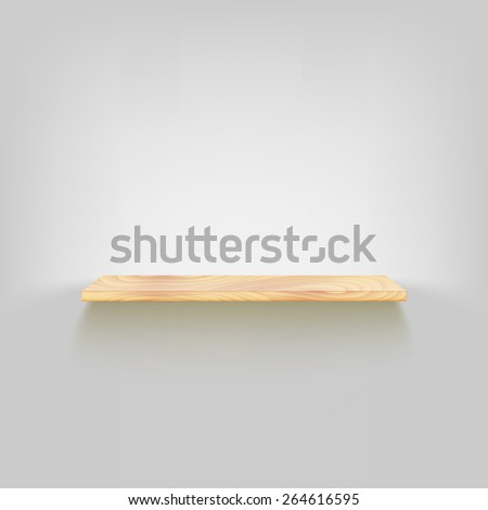 Wood shelf attached to the wall. Vector, dark background, eps10