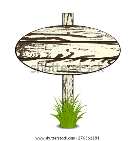 Wood Sign Board on a grass. Vector illustration. Isolated on white - stock vector