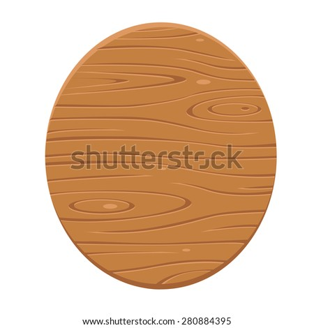 Wood sign in oval shape.