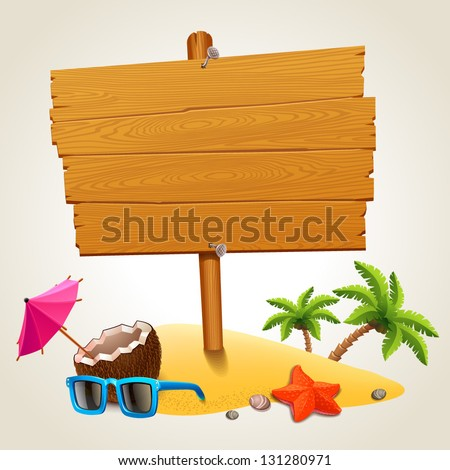 Wood sign in the beach icon - stock vector