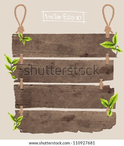 wood signboard with green leaves, vector illustration - stock vector