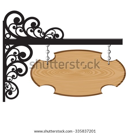 Wood signs hanging for shop. vector illustration.