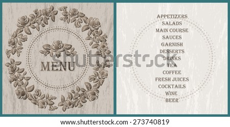 wood style decorated menu template - brown roses vignette on the light wood texture background - stock vector