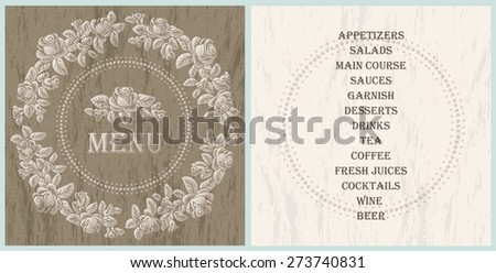 wood style decorated menu template - light brown roses vignette on the wood texture background - stock vector
