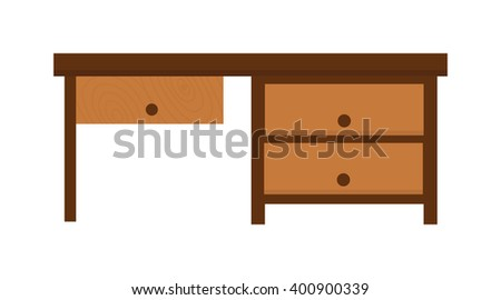 Wood table furniture vector. Wood table furniture illustration. Wood table furniture isolated on white. Wood table furniture icon. Wood table furniture flat silhouette - stock vector
