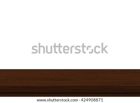 Wood table top on white background - Vector