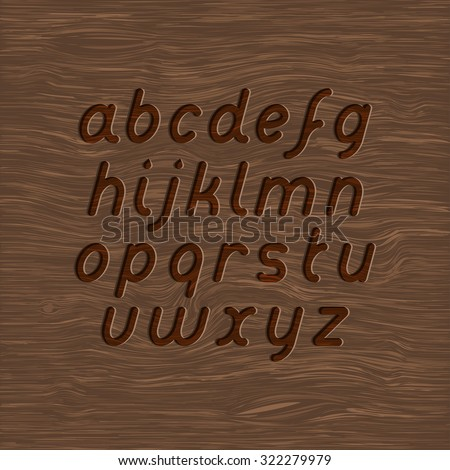 wood texture and carved font set - stock vector
