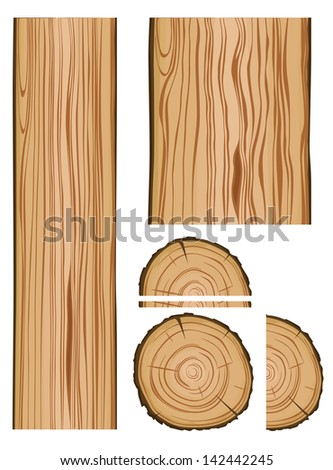 Wood texture and parts isolated on white background. Jpeg version also available in gallery  - stock vector
