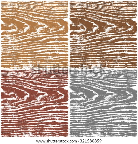 Wood texture background. Set 03 Empty natural pattern swatch template in four colors. Realistic plank with annual years circles. Backdrop size square format. Vector illustration design elements 8 eps - stock vector