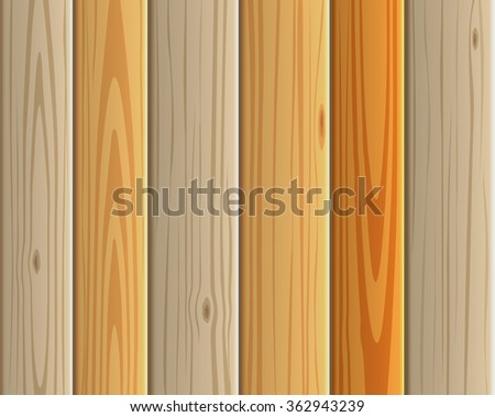 Wood texture vector background panels with grain. Set of wood light boards. Floor collection in warm colour. Wood pattern similar to pine. - stock vector