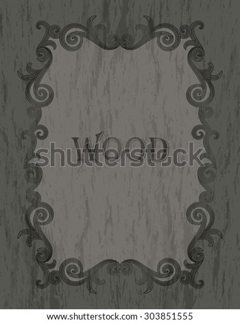 wood texture - vintage dark brown color vignette border on a gray & green wood background - stock vector