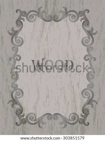 wood texture - vintage dark brown color vignette border on a gray wood background - stock vector
