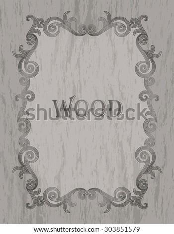 wood texture - vintage dark brown color vignette border on a gray wood background - stock vector