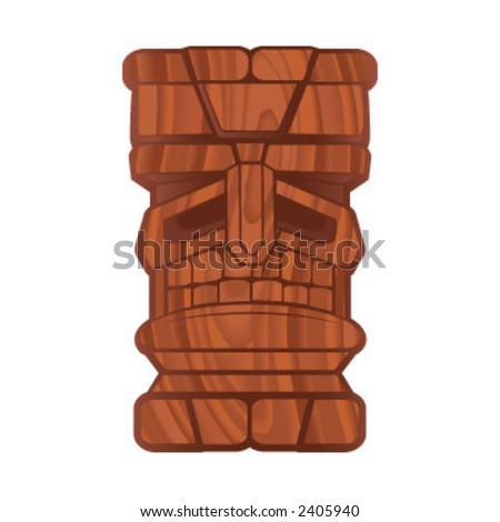 Wood Tiki - stock vector