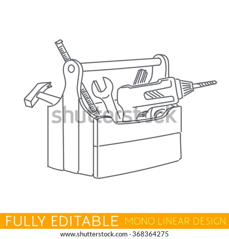 Wood tool box. Kit include drill, hummer, tape measure, wrench, screwdriver. Modern thin line logo template. Fully editable curves. Mono linear pictogram of outline symbol. Stroke vector icon concept. - stock vector