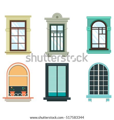Wood windows frames isolated set exterior stock vector for Building outer design