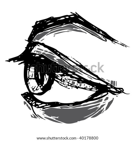 woodblock style eye - stock vector