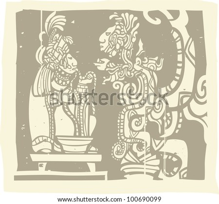 Woodblock style Mayan image with a priest and Vision Serpent - stock vector