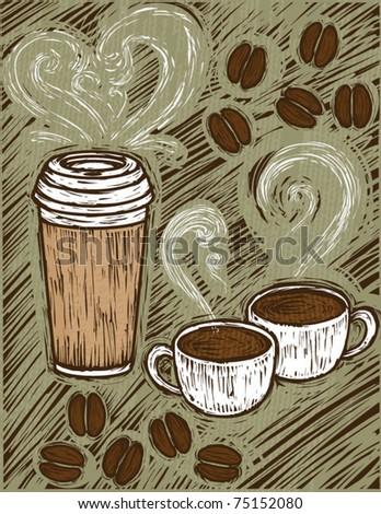woodcut coffee illustration - stock vector