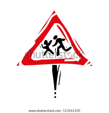 "woodcut engrave illustration of road sign ""children"" - stock vector"