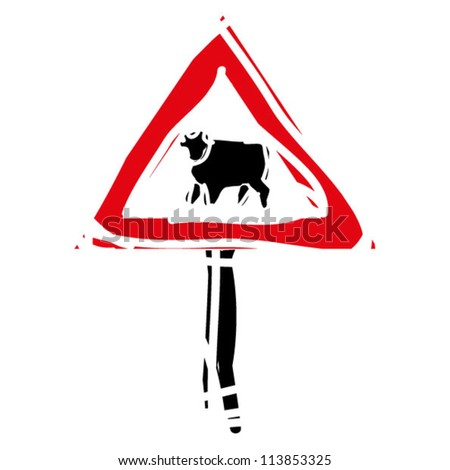 "woodcut engrave illustration of road sign ""cows"" - stock vector"