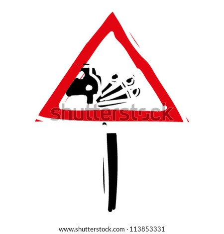 "woodcut engrave illustration of road sign ""loose gravel"" - stock vector"