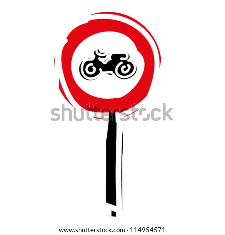 "woodcut engrave illustration of road sign ""No entry for motorcycle"" - stock vector"