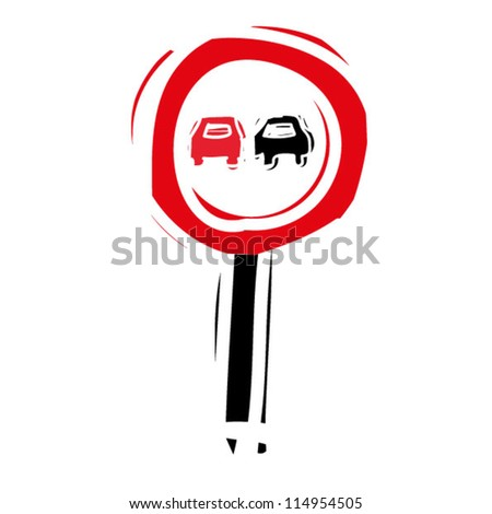 "woodcut engrave illustration of road sign ""no passing"" - stock vector"