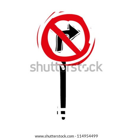 "woodcut engrave illustration of road sign ""no right turn"" - stock vector"