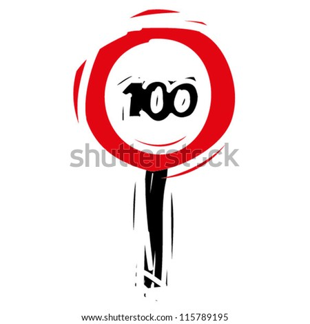 "woodcut engrave illustration of road sign ""speed limit 100"""