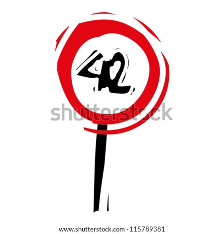 "woodcut engrave illustration of road sign ""speed limit 42"" - stock vector"