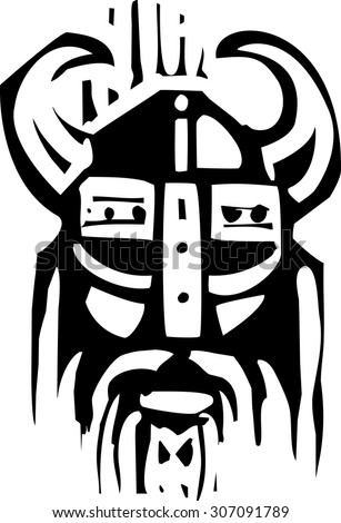 Woodcut expressionist image o a face of a viking warrior - stock vector
