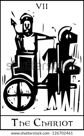 Woodcut expressionist style image for the Tarot card of the Chariot. - stock vector