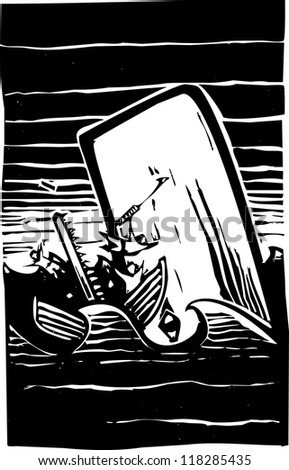 Woodcut expressionist style image of a whale destroying a whaling boat. - stock vector
