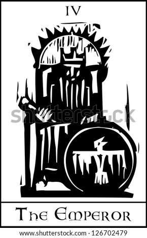 Woodcut expressionist style image of the Tarot Card for the Emperor - stock vector