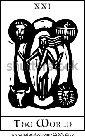 Woodcut expressionist style image of the Tarot Card for the World - stock vector