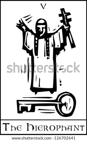 Woodcut expressionist style Tarot card for the Hierophant - stock vector