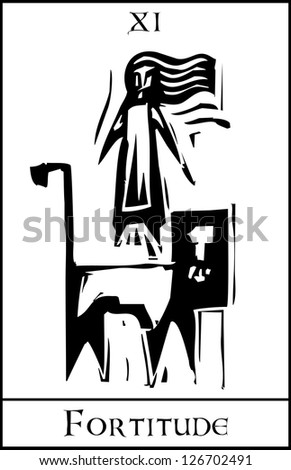 Woodcut expressionist style Tarot Card Major Arcana image of Fortitude - stock vector