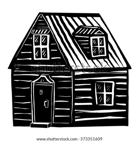 Woodcut house - stock vector