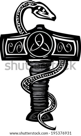 Woodcut image of the Norse god Thor's Hammer entwined with a serpent. - stock vector