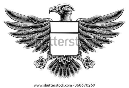 Woodcut or woodblock style wing shield eagle insignia motif - stock vector