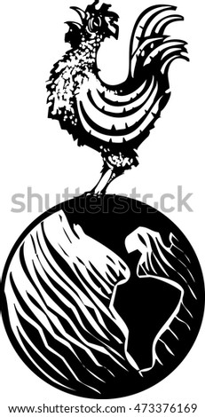 Woodcut Rooster crowing on earth globe at the breaking of dawn.